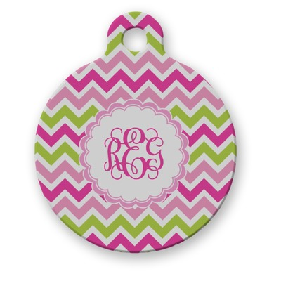 Pink & Green Chevron Round Pet ID Tag (Personalized)