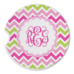 Pink & Green Chevron Sandstone Car Coasters (Personalized)