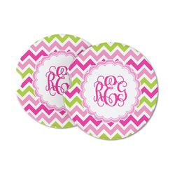 Pink & Green Chevron Sandstone Car Coasters (Personalized)