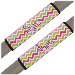 Pink & Green Chevron Seat Belt Covers (Set of 2) (Personalized)