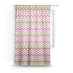 Pink & Green Chevron Sheer Curtains (Personalized)