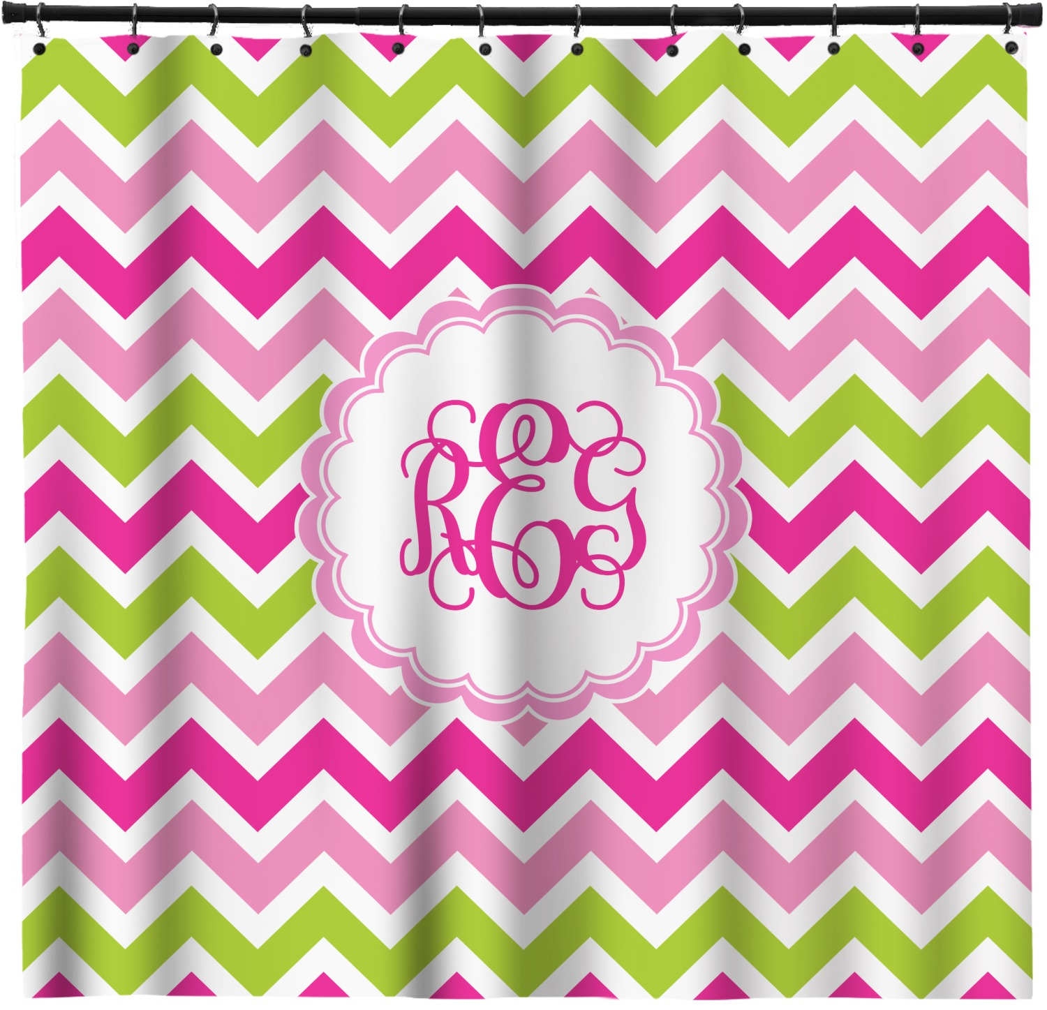 Pink Green Chevron Extra Long Shower Curtain 70 X90 Personalized Youcustomizeit