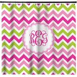 Pink & Green Chevron Shower Curtain (Personalized)