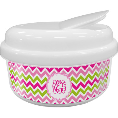 Pink & Green Chevron Snack Container (Personalized)