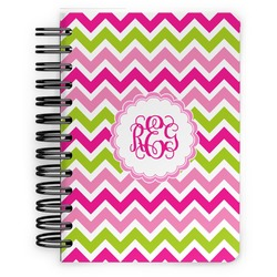 Pink & Green Chevron Spiral Bound Notebook - 5x7 (Personalized)