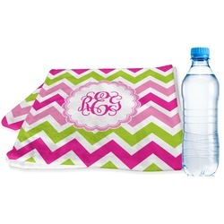Pink & Green Chevron Sports Towel (Personalized)