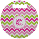 Pink & Green Chevron Stadium Cushion (Round) (Personalized)