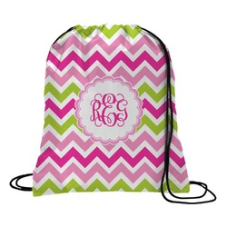 Pink & Green Chevron Drawstring Backpack (Personalized)