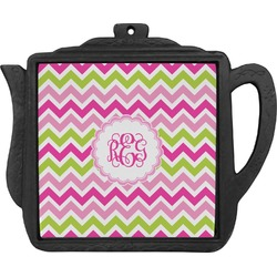Pink & Green Chevron Teapot Trivet (Personalized)