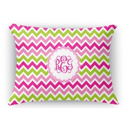 Pink & Green Chevron Rectangular Throw Pillow Case (Personalized)