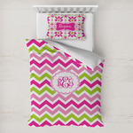 Pink & Green Chevron Toddler Bedding w/ Monogram