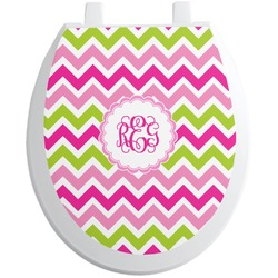Pink & Green Chevron Toilet Seat Decal (Personalized)