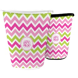 Pink & Green Chevron Waste Basket (Personalized)