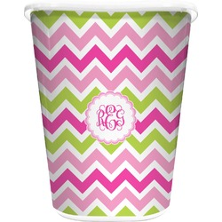 Pink & Green Chevron Waste Basket - Single Sided (White) (Personalized)