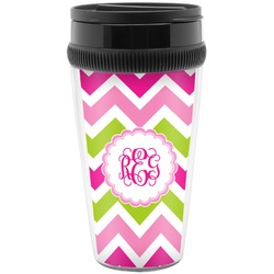 Pink & Green Chevron Travel Mugs (Personalized)