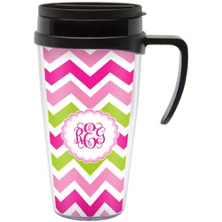Pink & Green Chevron Travel Mug with Handle (Personalized)