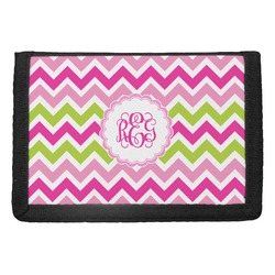 Pink & Green Chevron Trifold Wallet (Personalized)