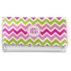 Pink & Green Chevron Vinyl Check Book Cover (Personalized)