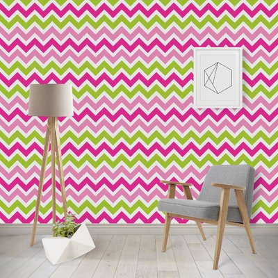 Pink & Green Chevron Wallpaper & Surface Covering