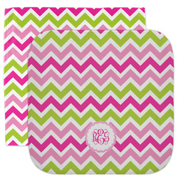 Pink & Green Chevron Facecloth / Wash Cloth (Personalized)