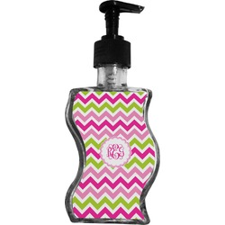 Pink & Green Chevron Wave Bottle Soap / Lotion Dispenser (Personalized)