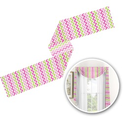 Pink & Green Chevron Window Sheer Scarf Valance (Personalized)