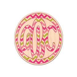 Pink & Green Chevron Genuine Wood Sticker (Personalized)