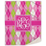 Pink & Green Argyle Sherpa Throw Blanket (Personalized)