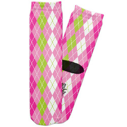 Pink & Green Argyle Adult Crew Socks (Personalized)