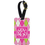 Pink & Green Argyle Aluminum Luggage Tag (Personalized)