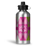 Pink & Green Argyle Water Bottle - Aluminum - 20 oz (Personalized)