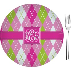 "Pink & Green Argyle Glass Appetizer / Dessert Plates 8"" - Single or Set (Personalized)"