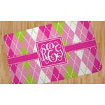 Pink & Green Argyle Area Rug (Personalized)