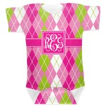 Pink & Green Argyle Baby Bodysuit (Personalized)