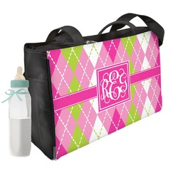 Pink & Green Argyle Diaper Bag (Personalized)