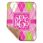 """Pink & Green Argyle Sherpa Baby Blanket 30"""" x 40"""" (Personalized)"""