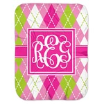 Pink & Green Argyle Baby Swaddling Blanket (Personalized)