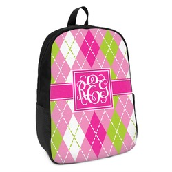 Pink & Green Argyle Kids Backpack (Personalized)