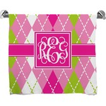 Pink & Green Argyle Full Print Bath Towel (Personalized)