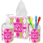 Pink & Green Argyle Bathroom Accessories Set (Personalized)