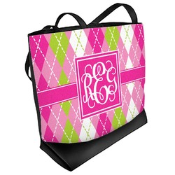 Pink & Green Argyle Beach Tote Bag (Personalized)