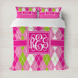 Pink & Green Argyle Duvet Cover Set - Full / Queen (Personalized)