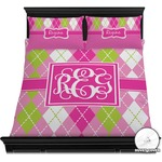 Pink & Green Argyle Duvet Cover Set (Personalized)