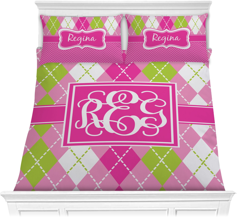 Pink & Green Argyle Comforter Set - Full / Queen ...