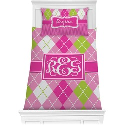 Pink & Green Argyle Comforter Set - Twin XL (Personalized)