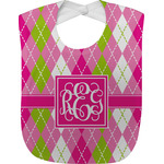 Pink & Green Argyle Baby Bib (Personalized)