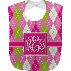 Pink & Green Argyle Baby Bib (Personalized)