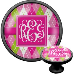 Pink & Green Argyle Cabinet Knob (Black) (Personalized)