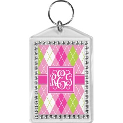 Pink & Green Argyle Bling Keychain (Personalized)