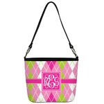 Pink & Green Argyle Bucket Bag w/ Genuine Leather Trim (Personalized)